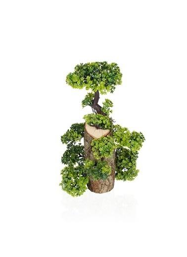 Çiçekmisin Uzun Kütükte Minyatür Yapay Ağaç Yeşil